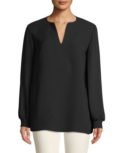 Roxy Double Georgette Blouse with Knit Cuffs, Plus Size