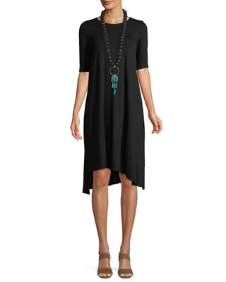 Eileen Fisher Short-Sleeve Lightweight Jersey Asymmetric Dress,