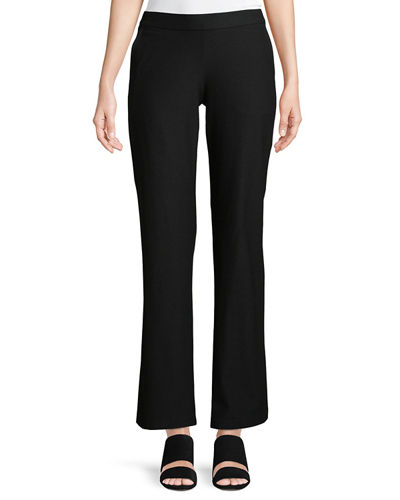 Eileen Fisher Washable Stretch-Crepe Straight-Leg Pants with Pocket