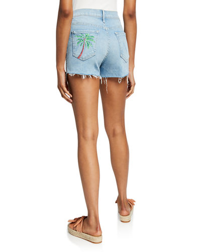 MOTHER Rascal Rainbow High-Waist Distressed Denim Shorts