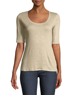 Majestic Paris for Neiman Marcus Basic Stretch-Linen Elbow-Sleeve