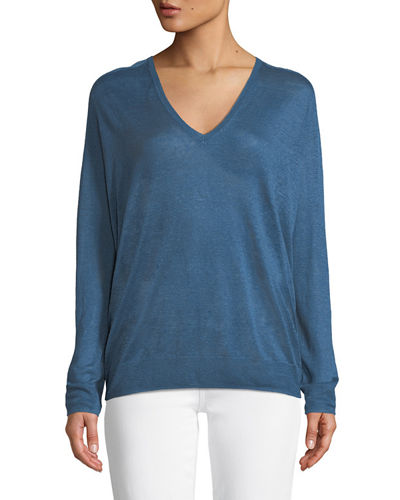 Adrianna Sag Harbour V-Neck Long-Sleeve Linen-Blend Top