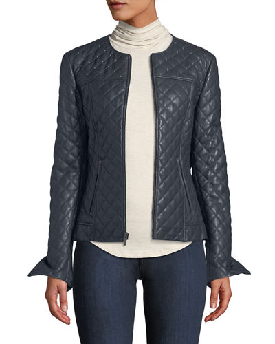 Quilted Short Leather Moto Jacket w/ Stud Trim