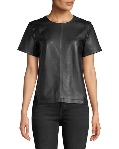 Lamb Leather & Ponte Back Top