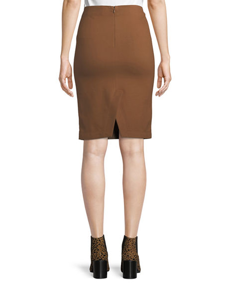 Image 2 of 4: Neiman Marcus Leather Collection Lamb Leather & Ponte Pencil Skirt