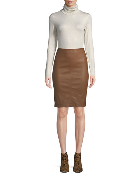 Image 4 of 4: Neiman Marcus Leather Collection Lamb Leather & Ponte Pencil Skirt