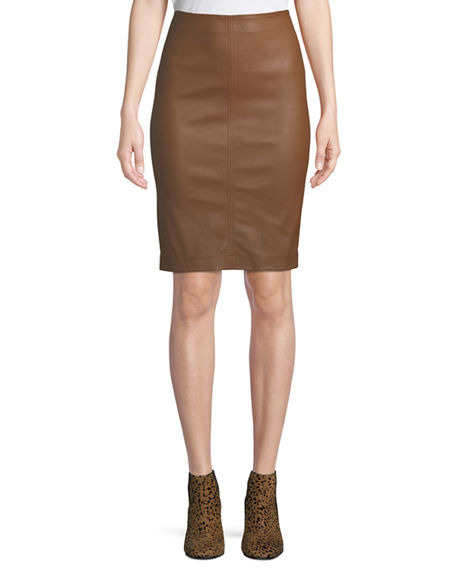Image 1 of 4: Neiman Marcus Leather Collection Lamb Leather & Ponte Pencil Skirt