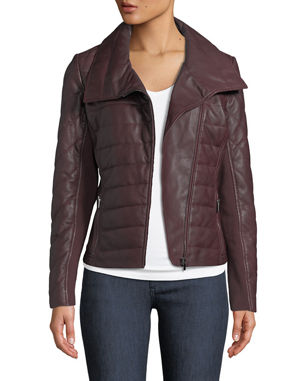 9362a582faed Neiman Marcus Leather Collection Quilted Lamb Leather Jacket