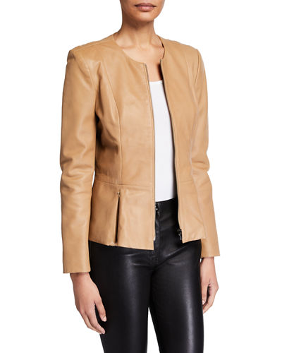 Zip-Front Leather Peplum Jacket