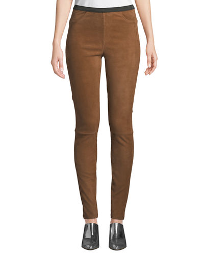 Suede Leggings w/ Mock Fly