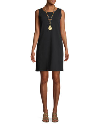 Eileen Fisher Sleeveless Bateau-Neck Shirtdress