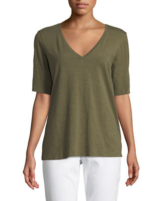 Eileen Fisher Short-Sleeve V-Neck Organic Cotton Slub Jersey