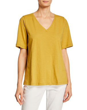 edeb29d3d11df3 Eileen Fisher Short-Sleeve V-Neck Organic Cotton Slub Jersey Tee