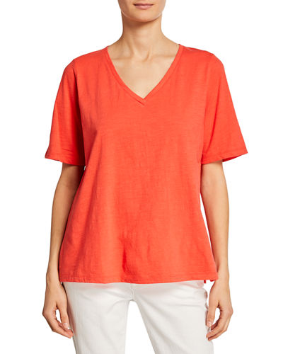 Short-Sleeve V-Neck Organic Cotton Slub Jersey Tee