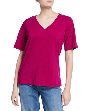 9049ad26 Eileen Fisher Short-Sleeve V-Neck Organic Cotton Slub Jersey Tee
