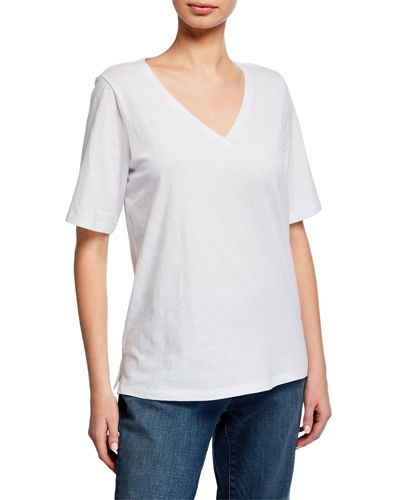 Short-Sleeve V-Neck Organic Cotton Slub Jersey Tee, Plus Size