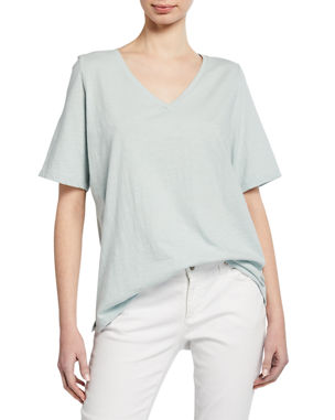 5e4097475d3a6a Eileen Fisher Plus Size Short-Sleeve V-Neck Organic Cotton Slub Jersey Tee