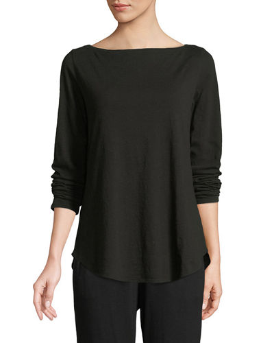 Eileen Fisher Organic Cotton Slub Boat-Neck Tee, Plus