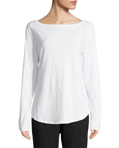 Organic Cotton Slub Boat-Neck Tee, Plus Size