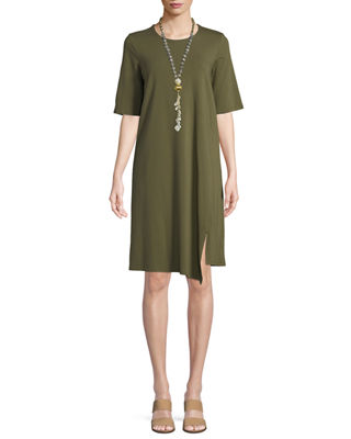 Eileen Fisher Half-Sleeve Asymmetric-Hem Cotton Shift Dress