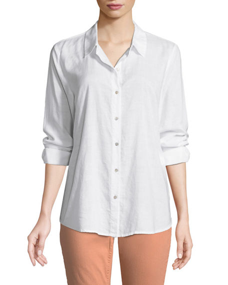 Eileen Fisher Downs CROSSHATCH CLASSIC BUTTON-FRONT SHIRT, PLUS SIZE