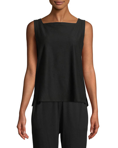 Sleeveless Square-Neck Crepe Shell