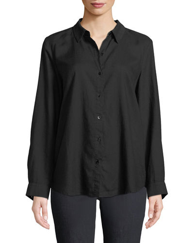 Crosshatch Classic Button-Front Shirt, Petite