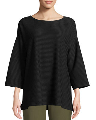 Eileen Fisher Tencel Stripe Ribbed Box Top