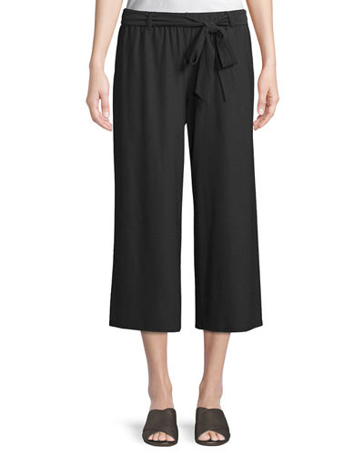 Washable Stretch Crepe Cropped Pants w/ Belt