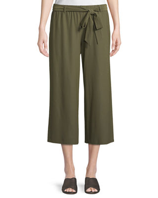 Washable Stretch Crepe Cropped Pants W/ Belt, Olive