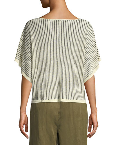 Short-Sleeve Vertical Striped Organic Sweater, Plus Size
