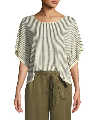 Eileen Fisher Short-Sleeve Vertical Striped Organic Sweater