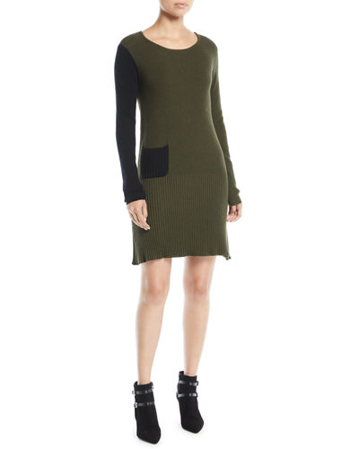 Long-Sleeve Colorblock Cotton-Cashmere Dress w/ Patch Pocket