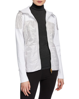 BOGNER Colby Long-Sleeve Zipper-Front Fitted Jacket in Off White