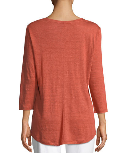 Organic Linen Jersey V-Neck Top, Plus Size