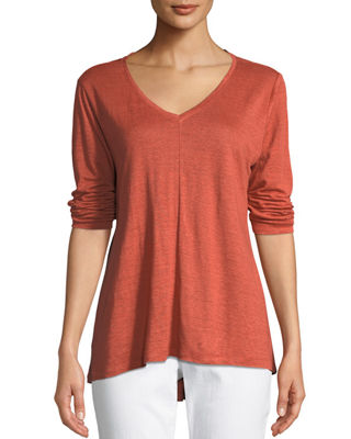 Eileen Fisher Organic Linen Jersey V-Neck Top, Plus