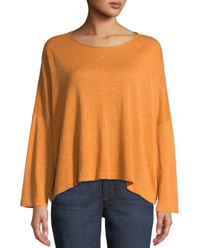 Organic Linen Jewel-Neck Box Top, Plus Size