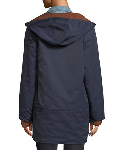 Reversible Organic Cotton/Nylon Hooded Raincoat
