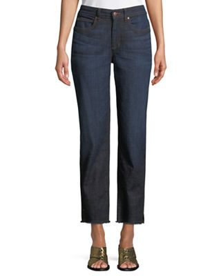 Eileen Fisher High-Rise Slim Frayed-Hem Ankle Jeans