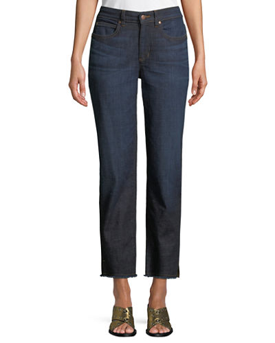 High-Rise Slim Frayed-Hem Ankle Jeans