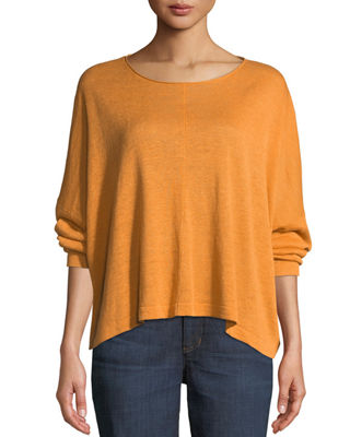 Eileen Fisher Organic Linen Jewel-Neck Box Top and