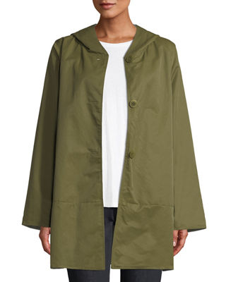 Eileen Fisher Classic Reversible Hooded Raincoat, Plus Size