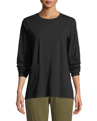 Eileen Fisher Organic Cotton Jersey Pocket Top, Petite