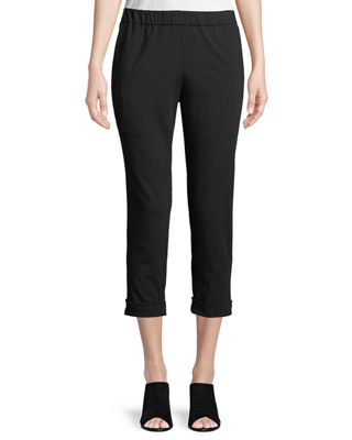 Eileen Fisher Slim Organic Cotton Jersey Cropped Pants,