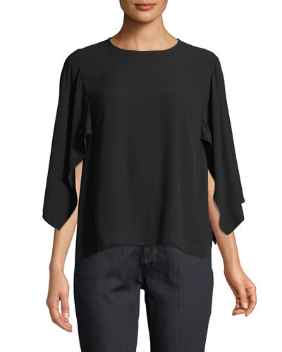 Cape-Sleeve Silk Top, Plus Size