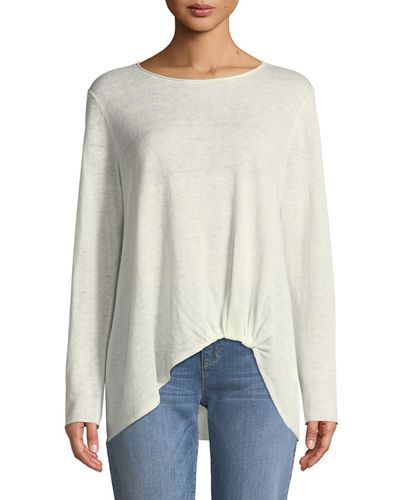 Jewel-Neck Front-Twist Organic Linen Sweater