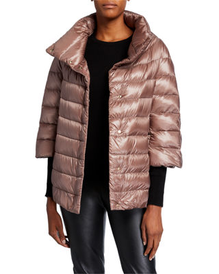 3/4 Sleeve Cocoon Quilted Puffer Coat in Taupe