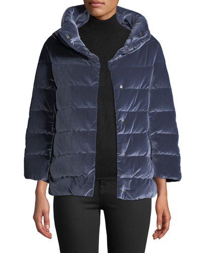 Velvet Quilted Down Jacket