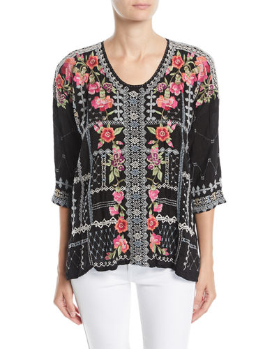 Carnation Embroidered Georgette Blouse, Petite
