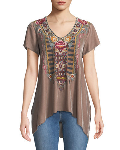 Cherelle Embroidered Velvet Tunic, Petite